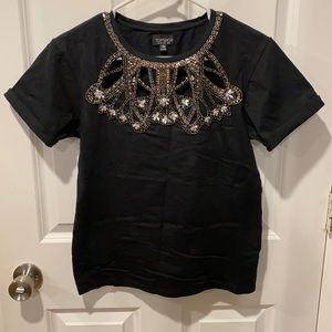 Topshop Embellished Cut Outs Tee